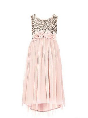 A-line/Princess Scoop Chiffon Sleeveless Floor-Length Flower Girl Dresses