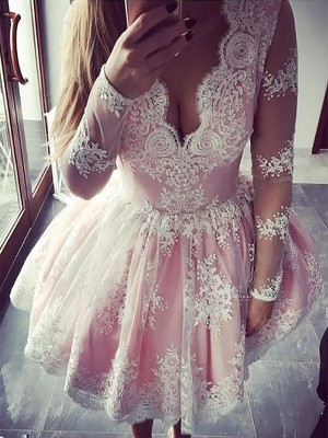 A-line/Princess V-neck Lace Long Sleeves Short/Mini Dresses