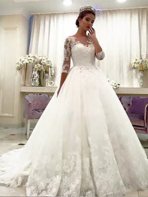 Ball Gown Bateau Tulle 3/4 Sleeves Court Train Wedding Dresses