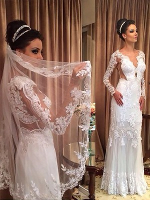 Sheath/Column V-neck Tulle Long Sleeves Floor-Length Wedding Dresses