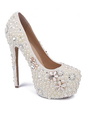 Women's Patent Leather Closed Toe Stiletto Heel With Pearl Rhinestone White Wedding Shoes