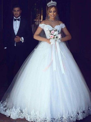 Ball Gown Off-the-Shoulder Tulle Sleeveless Floor-Length Wedding Dresses