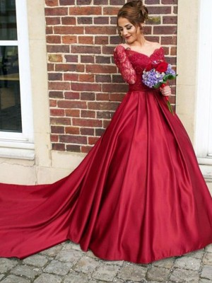 A-Line/Princess V-neck Satin Long Sleeves Sweep/Brush Train Dresses