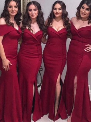 Sheath/Column Off-the-Shoulder Satin Sleeveless Floor-Length Bridesmaid Dresses