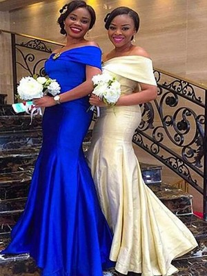 Trumpet/Mermaid Off-the-Shoulder Satin Sleeveless Floor-Length Bridesmaid Dresses