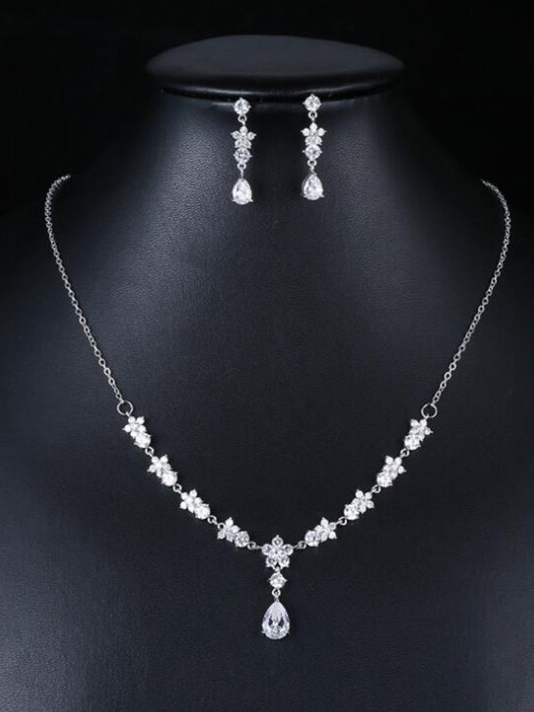 Fashion Occident Zircon Wedding Bridal Jewelry Set