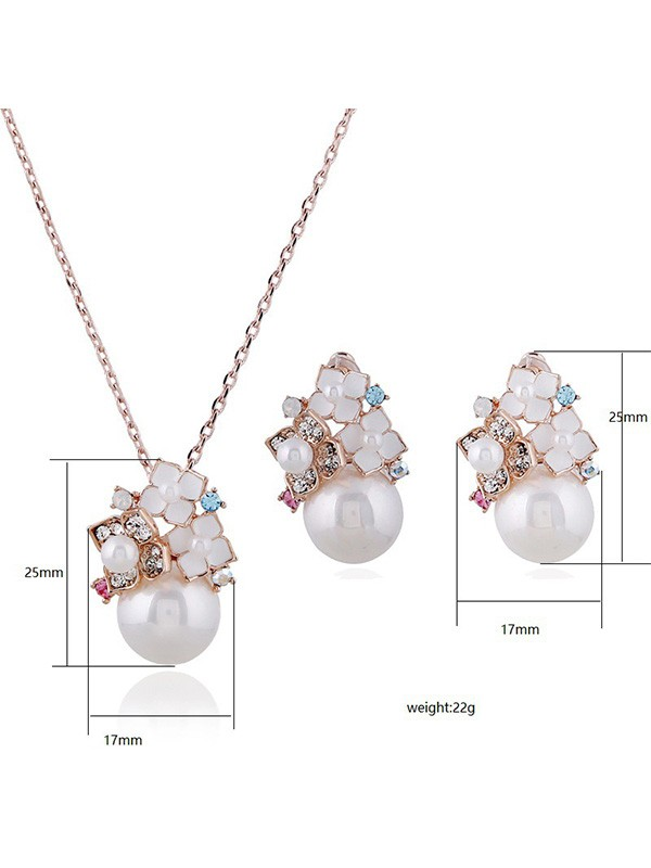 New Alloy With Pearl Ladies Jewelry Set
