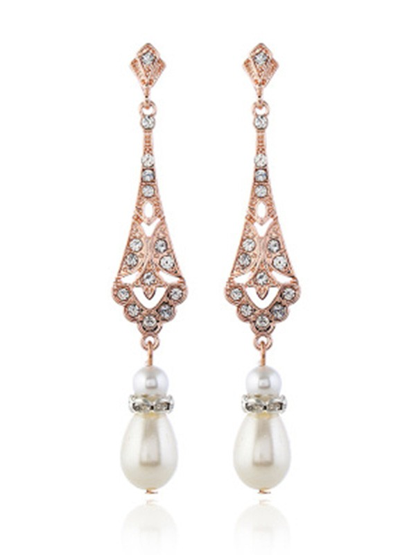 Pretty Alloy With Pearl Earrings For Ladies