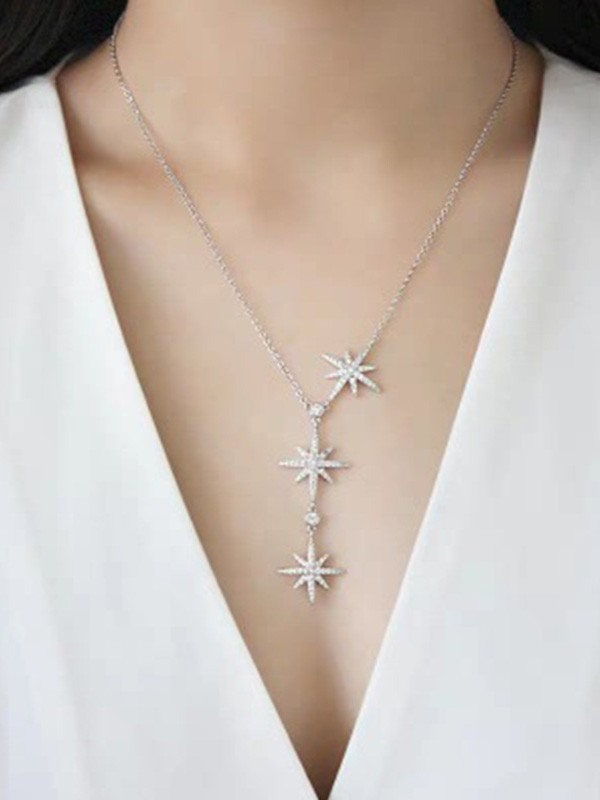 Brilliant 925 Sterling Silver With Star Ladies Necklaces