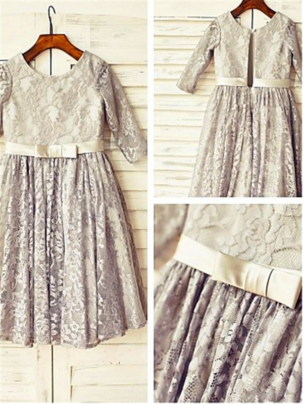 A-line/Princess Scoop Lace 3/4 Sleeves Tea-Length Flower Girl Dresses