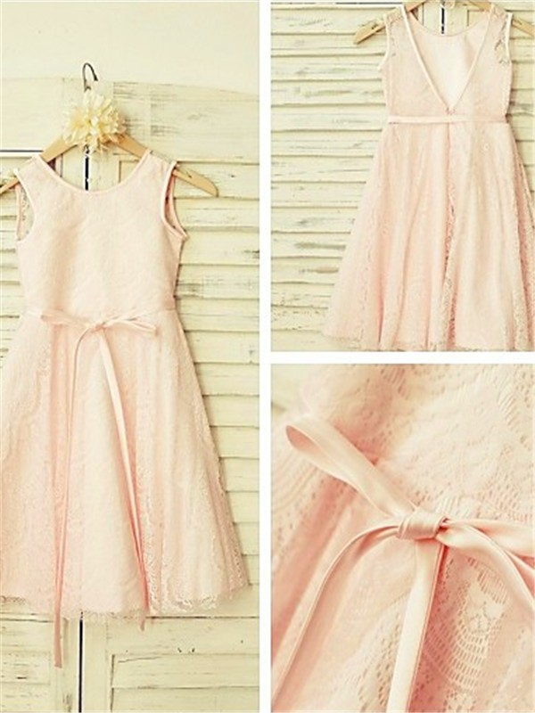 A-line/Princess Scoop Lace Sleeveless Tea-Length Flower Girl Dresses