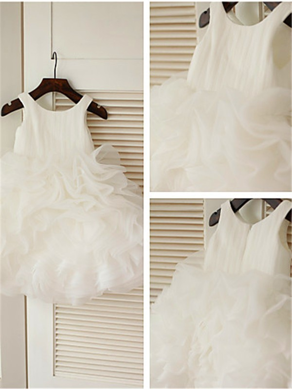 Ball Gown Scoop Organza Sleeveless Tea-Length Flower Girl Dresses