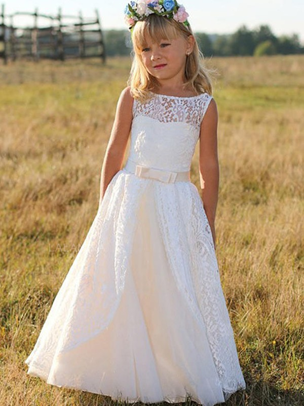 A-Line/Princess Scoop Lace Sleeveless Floor-Length Flower Girl Dresses