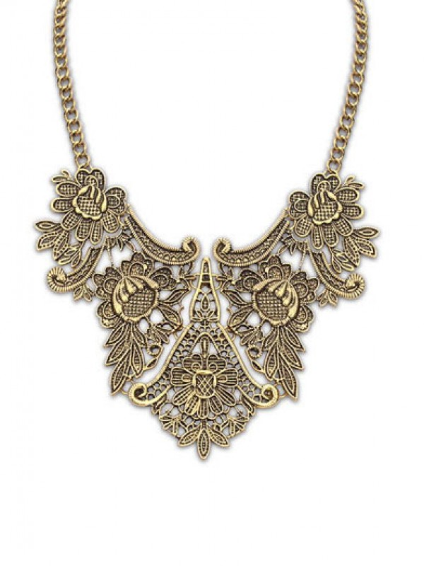 Occident Exotic Metallic flower pattern Hot Sale Necklace