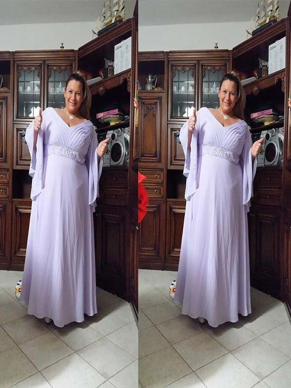 A-Line/Princess V-neck Chiffon Long Sleeves Floor-Length Mother of the Bride Dresses