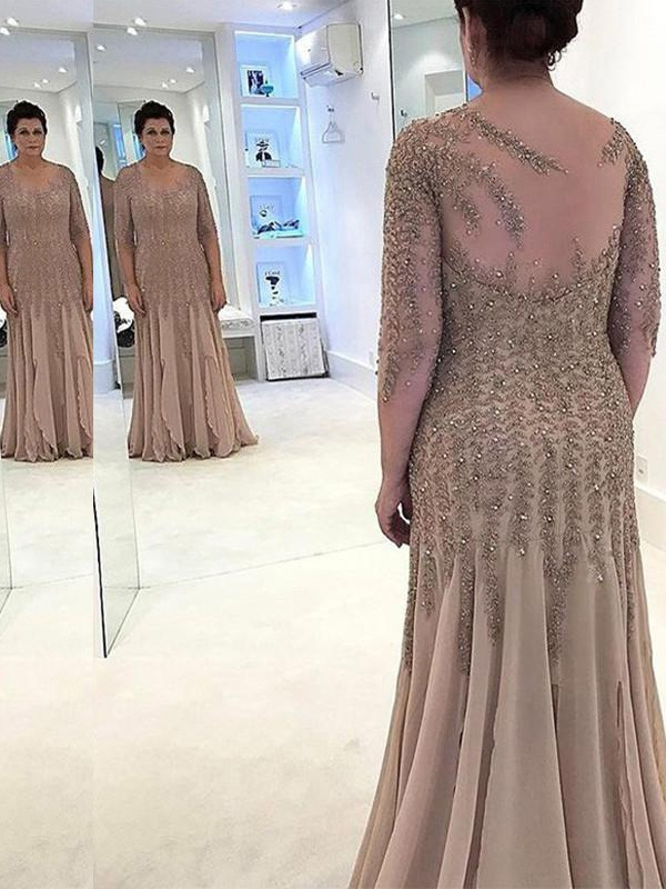 Sheath/Column Sheer Neck Chiffon Long Sleeves Floor-Length Mother of the Bride Dresses