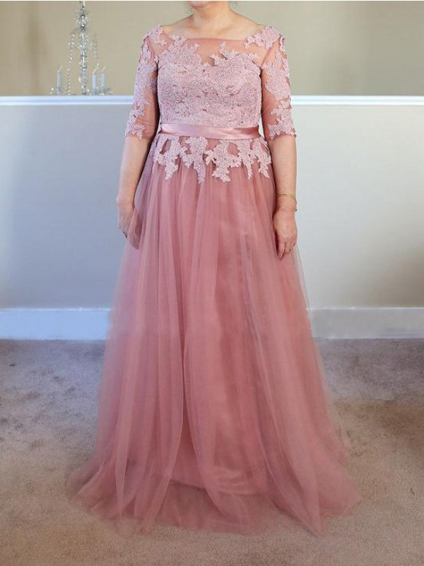 A-Line/Princess Bateau Tulle 1/2 Sleeves Floor-Length Mother of the Bride Dresses