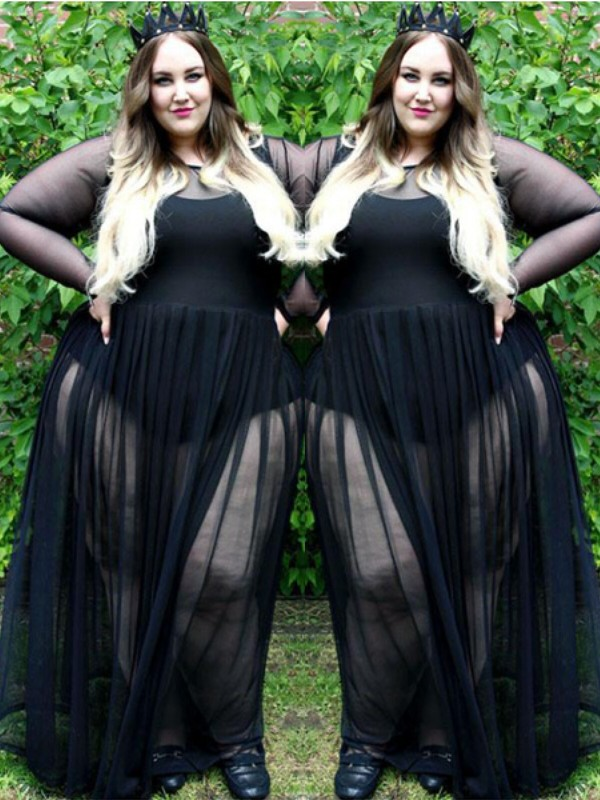 A-Line/Princess Sheer Neck Chiffon Long Sleeves Floor-Length Plus Size Dresses