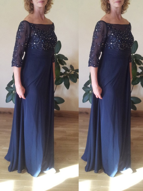 A-Line/Princess Bateau Chiffon 1/2 Sleeves Floor-Length Mother of the Bride Dresses
