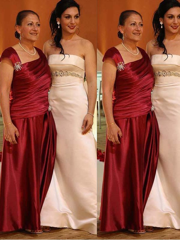 Sheath/Column Straps Satin Sleeveless Floor-Length Mother of the Bride Dresses