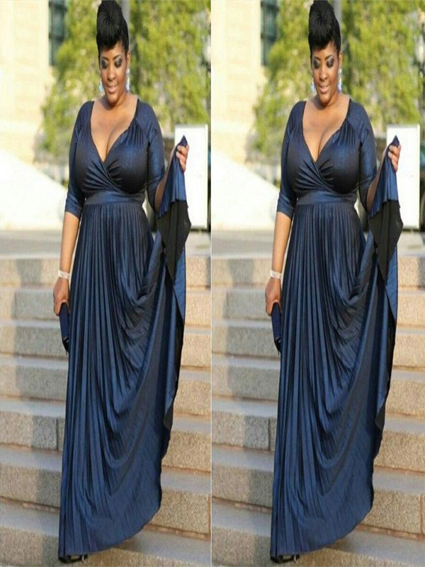 A-Line/Princess V-neck Elastic Woven Satin 1/2 Sleeves Floor-Length Mother of the Bride Dresses