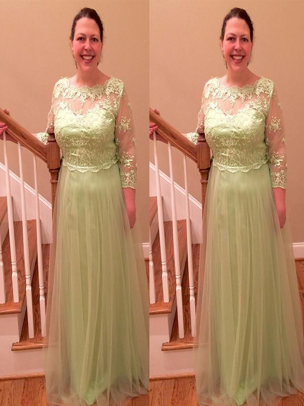 A-Line/Princess Sheer Neck Tulle 3/4 Sleeves Floor-Length Mother of the Bride Dresses