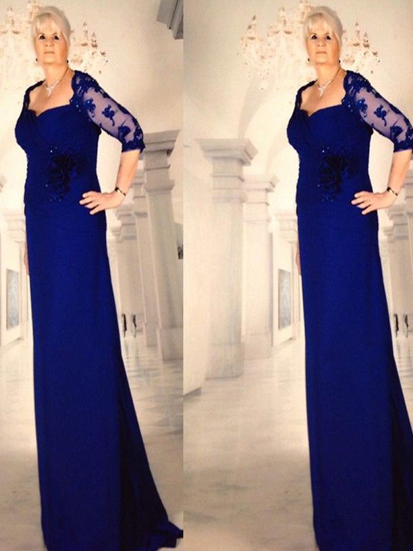 Sheath/Column Sweetheart Chiffon 1/2 Sleeves Floor-Length Mother of the Bride Dresses