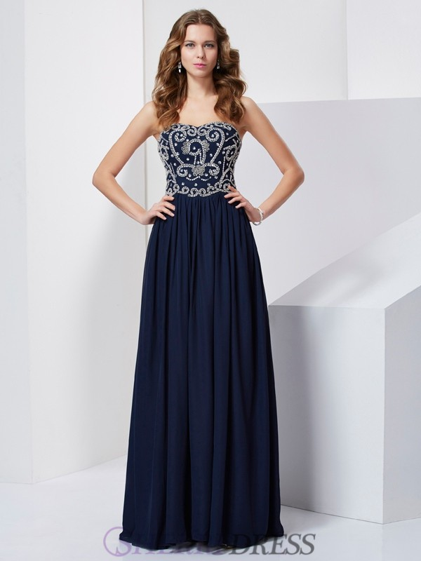A-Line/Princess Strapless Chiffon Sleeveless Floor-Length Dresses