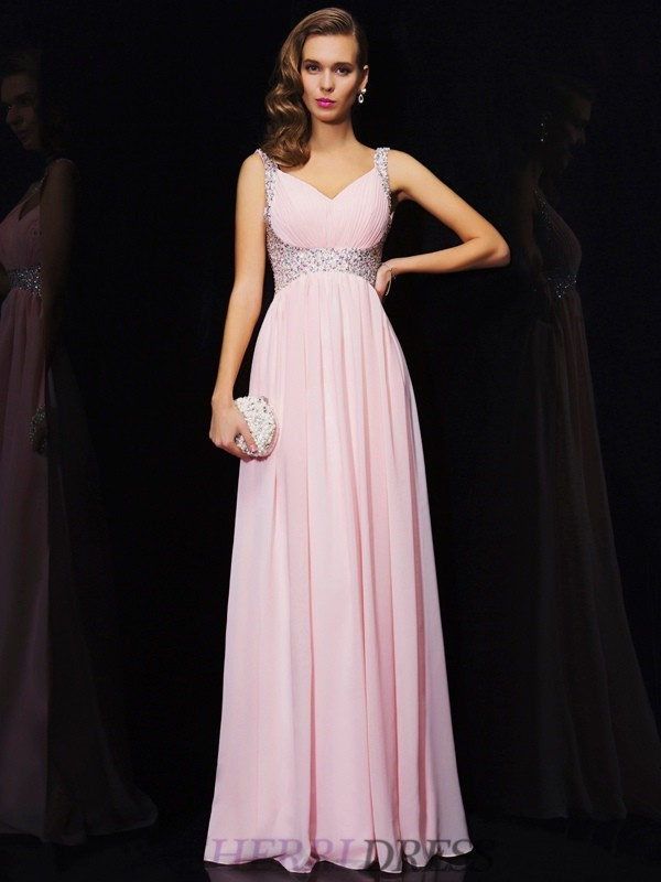 A-Line/Princess V-neck Chiffon Sleeveless Floor-Length Dresses