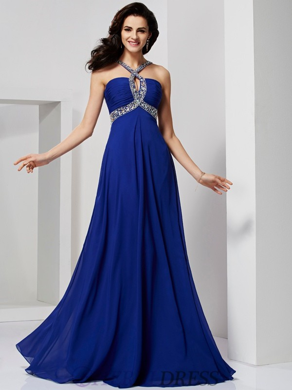 A-Line/Princess Chiffon Sleeveless Sweep/Brush Train Dresses