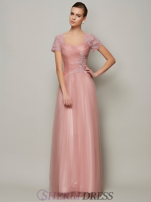 A-Line/Princess Sweetheart Satin Short Sleeves Floor-Length Dresses