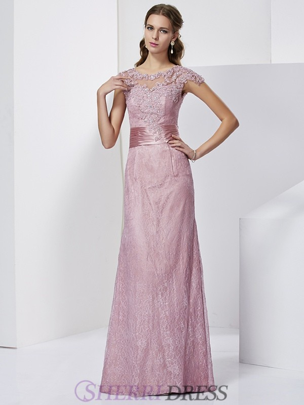 Sheath/Column High Neck Elastic Woven Satin Short Sleeves Floor-Length Mother of the Bride Dresses