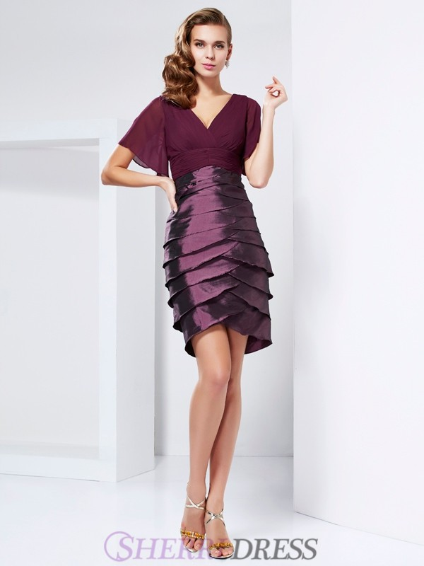 A-Line/Princess V-neck Taffeta Short Sleeves Knee-Length Mother of the Bride Dresses