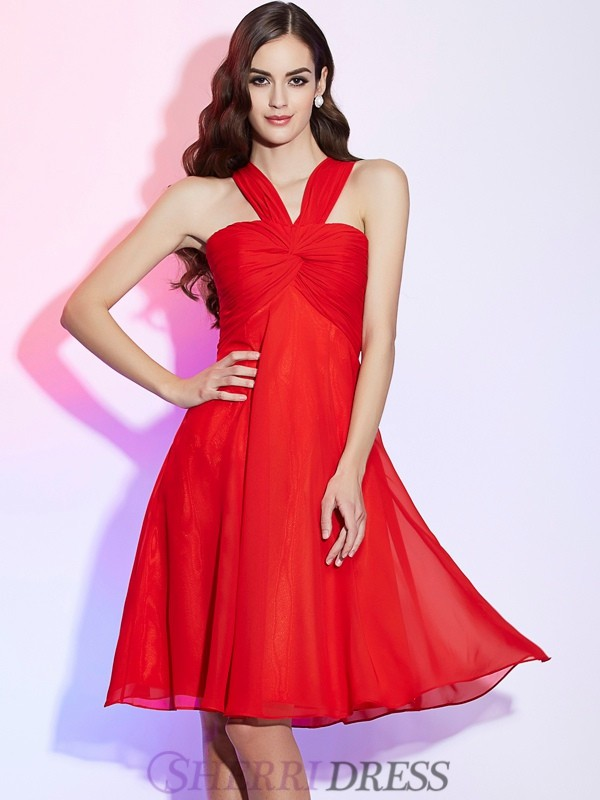 A-Line/Princess Halter Chiffon Sleeveless Knee-Length Bridesmaid Dresses