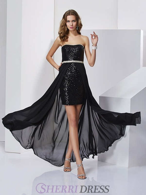 A-Line/Princess Strapless Chiffon Sleeveless Short/Mini Dresses