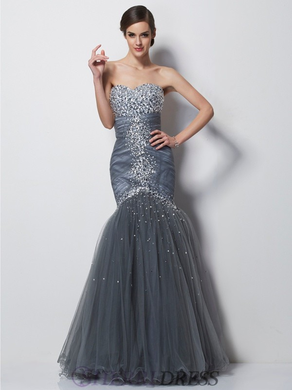 Trumpet/Mermaid Sweetheart Satin Sleeveless Floor-Length Dresses