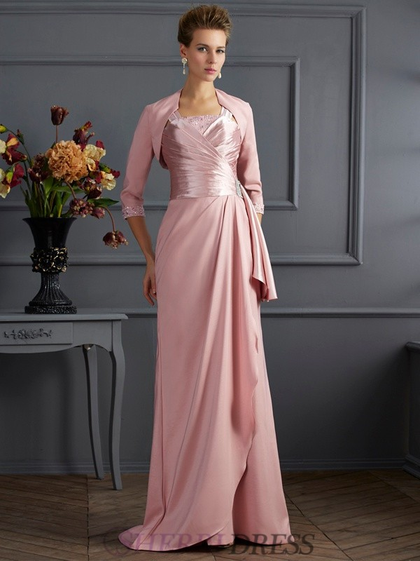 Sheath/Column Straps Elastic Woven Satin Sleeveless Sweep/Brush Train Mother of the Bride Dresses