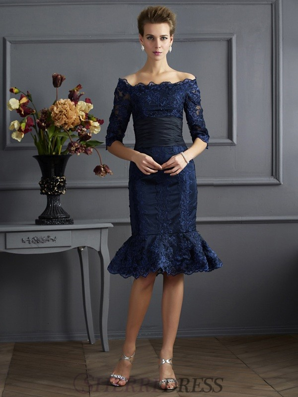 Sheath/Column Off the Shoulder Taffeta 3/4 Sleeves Knee-Length Dresses