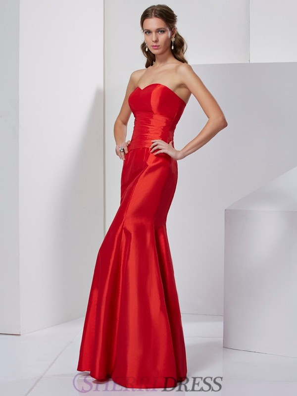 Trumpet/Mermaid Sweetheart Taffeta Sleeveless Floor-Length Dresses
