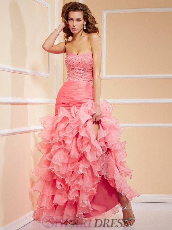 Trumpet/Mermaid Sweetheart Organza Sleeveless Asymmetrical Dresses