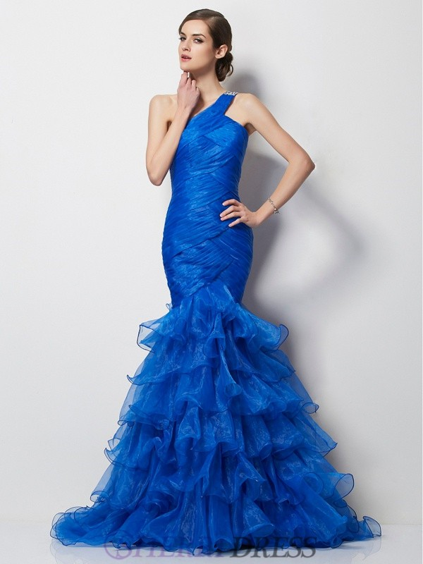 Trumpet/Mermaid One-Shoulder Tulle Sleeveless Sweep/Brush Train Dresses