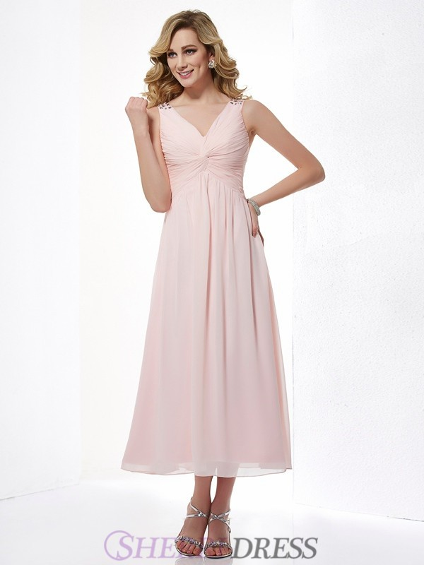 A-Line/Princess V-neck Chiffon Sleeveless Tea-Length Dresses