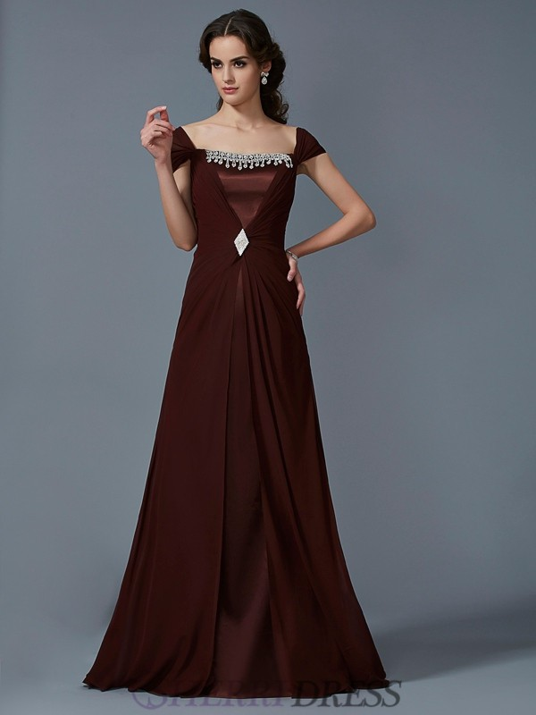 A-Line/Princess Strapless Chiffon Short Sleeves Floor-Length Dresses