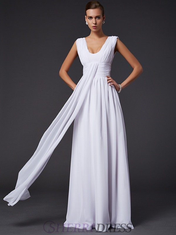 A-Line/Princess Jewel Chiffon Sleeveless Floor-Length Dresses