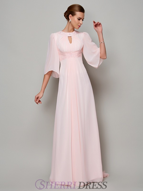 A-Line/Princess High Neck Chiffon 1/2 Sleeves Sweep/Brush Train Dresses