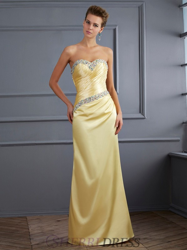 Trumpet/Mermaid Sweetheart Elastic Woven Satin Sleeveless Floor-Length Dresses
