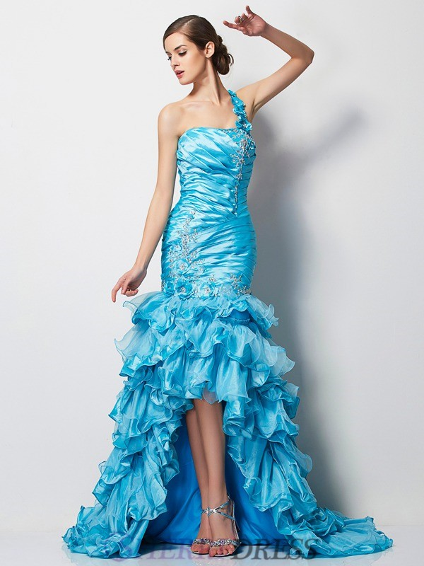 Trumpet/Mermaid One-Shoulder Taffeta Sleeveless Asymmetrical Dresses