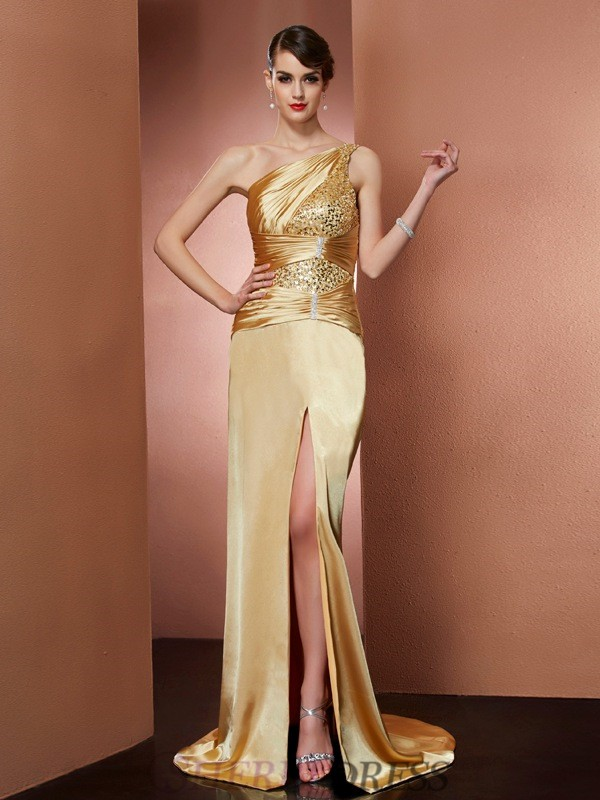 Sheath/Column One-Shoulder Elastic Woven Satin Sleeveless Sweep/Brush Train Dresses