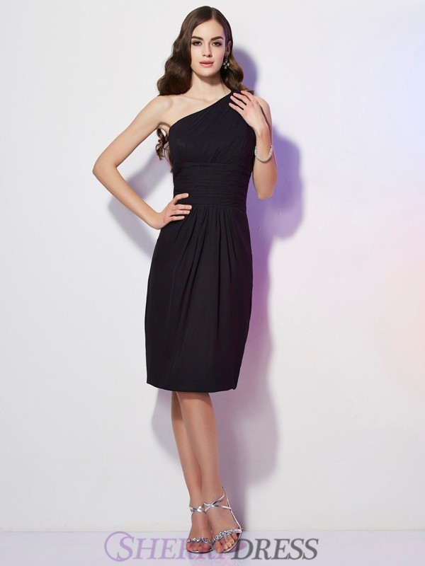 Sheath/Column One-Shoulder Chiffon Sleeveless Knee-Length Dresses
