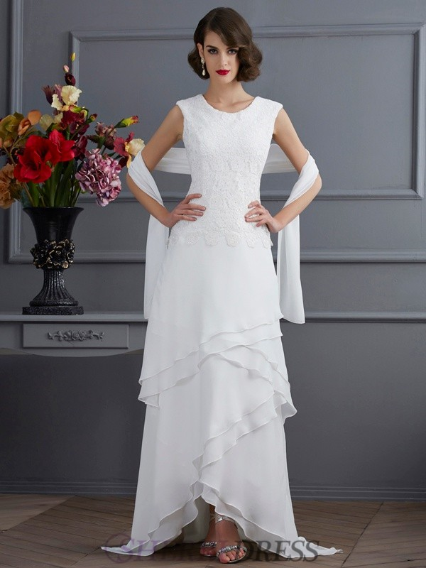 Sheath/Column Bateau Chiffon Sleeveless Asymmetrical Dresses